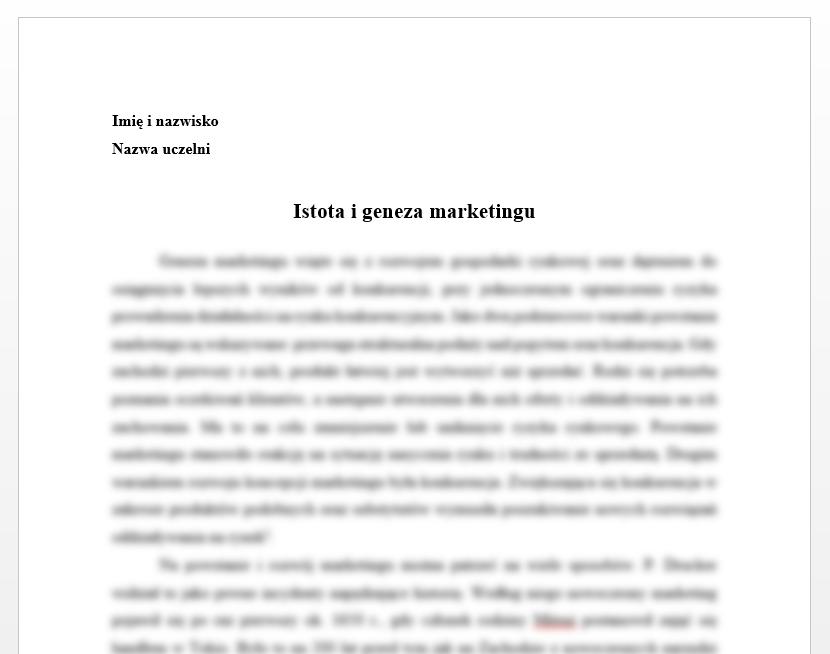 Esej: Istota i geneza marketingu