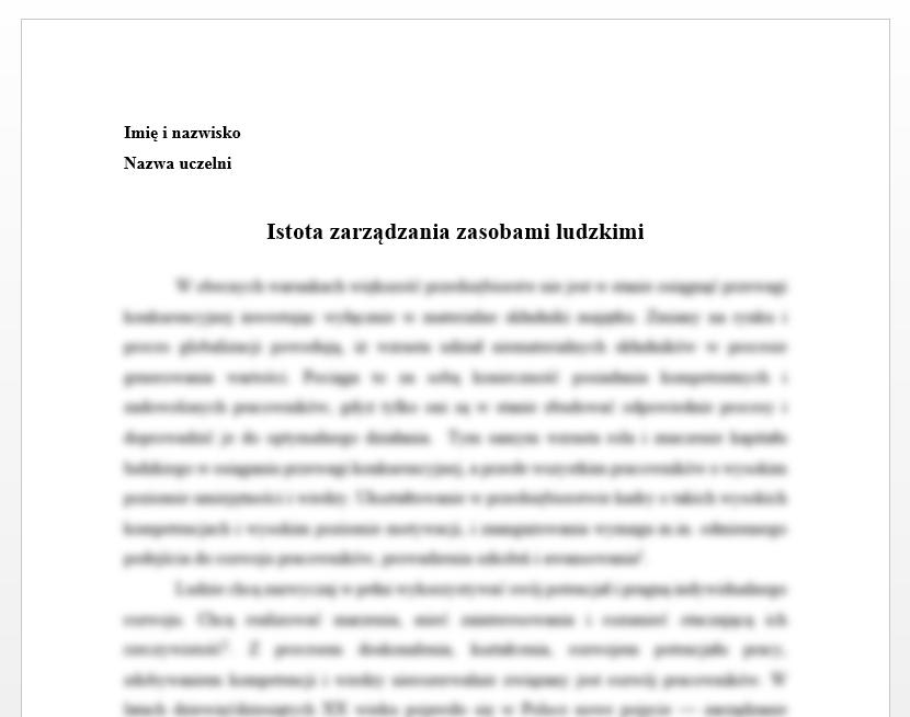 Esej: Istota zarządzania zasobami ludzkimi