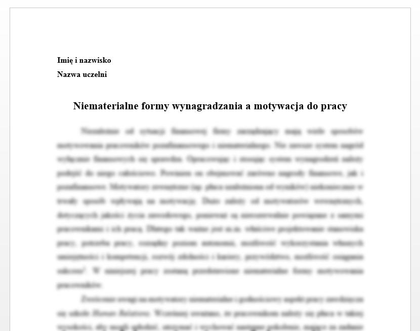 Esej: Niematerialne formy wynagradzania a motywacja do pracy