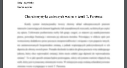Esej: Charakterystyka zmiennych wzoru w teorii T. Parsonsa