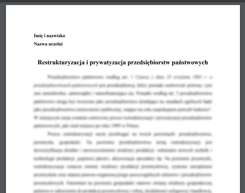 Esej: Restrukturyzacja i prywatyzacja przedsiębiorstw państwowych