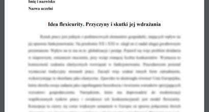 Esej: Idea flexicurity. Przyczyny i skutki jej wdrażania