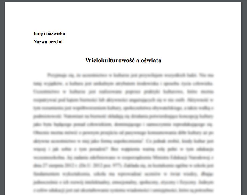 Esej: Wielokulturowość a oświata