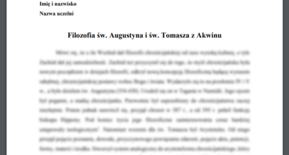 Referat: Filozofia św. Augustyna i św. Tomasza z Akwinu