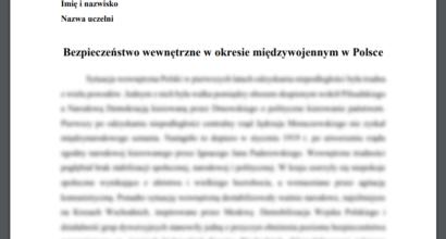 Referat: Bezpieczeństwo wewnętrzne w okresie międzywojennym w Polsce