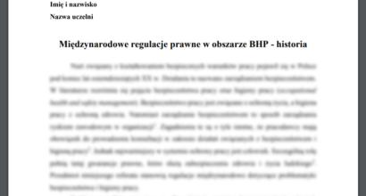 Referat: Międzynarodowe regulacje prawne w obszarze BHP – historia