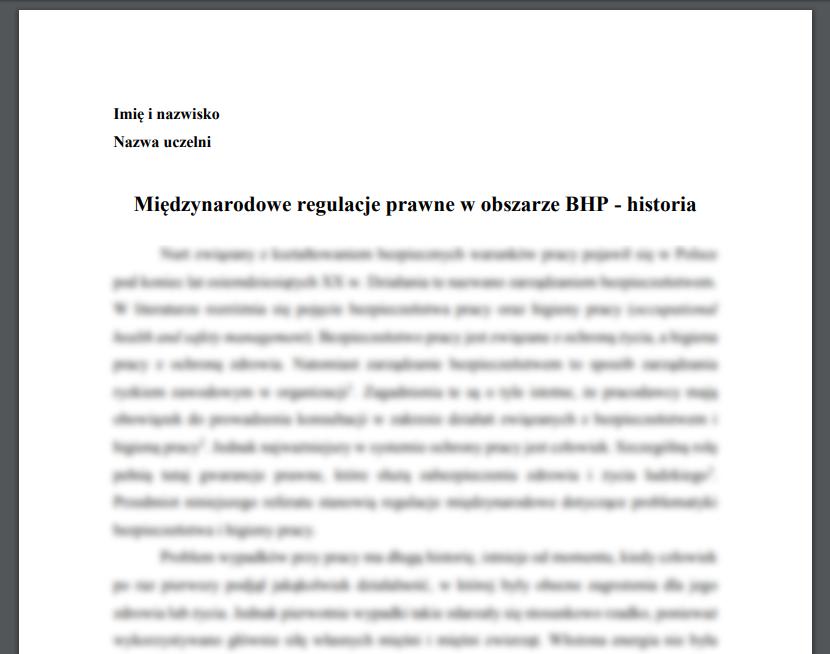 Międzynarodowe regulacje prawne w obszarze BHP – historia