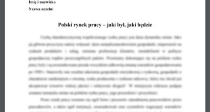 Referat: Polski rynek pracy - jaki był, jaki będzie