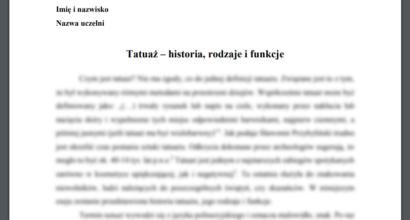 Esej: Tatuaż - historia, rodzaje i funkcje