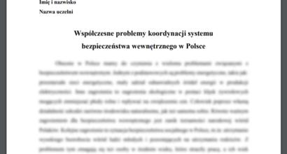 Esej: Współczesne problemy koordynacji systemu bezpieczeństwa wewnętrznego w Polsce