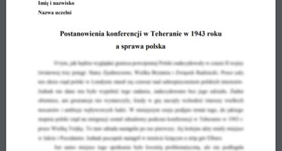 Esej: Postanowienia konferencji w Teheranie w 1943 roku a sprawa polska