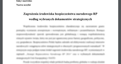 Esej: Zagrożenia środowiska bezpieczeństwa narodowego RP według wybranych dokumentów strategicznych