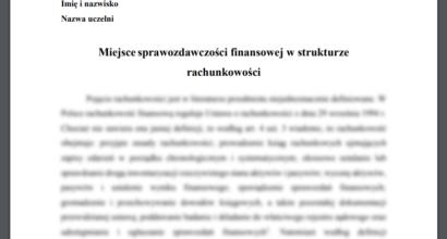 Esej: Miejsce sprawozdawczości finansowej w strukturze rachunkowości