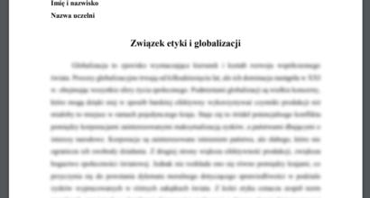 Esej: Związek etyki i globalizacji