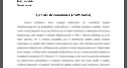 Esej: Zjawisko delewarowania (credit crunch)