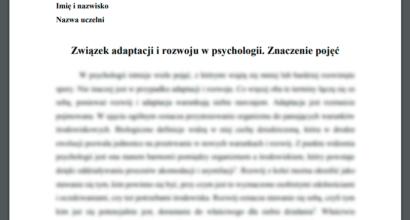 Esej: Związek adaptacji i rozwoju w psychologii. Znaczenie pojęć