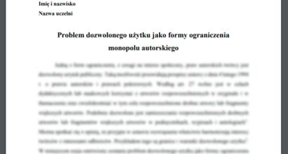 Esej: Problem dozwolonego użytku jako formy ograniczenia monopolu autorskiego