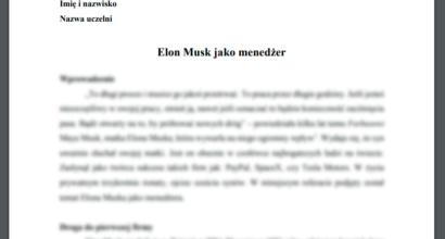 Referat: Elon Musk jako menedżer