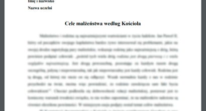 Esej: Cele małżeństwa według Kościoła